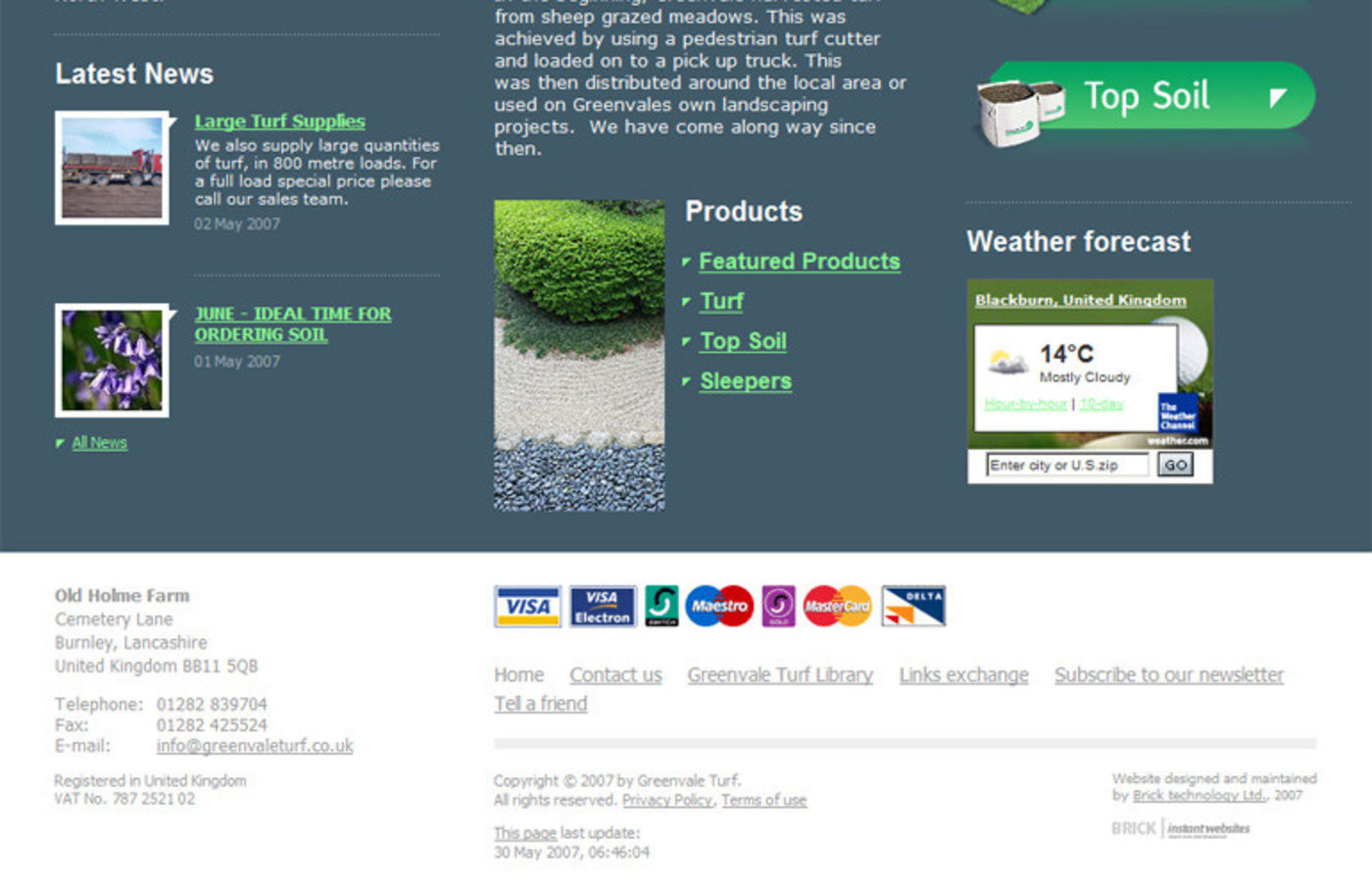 Greenvale Turf Homepage footer