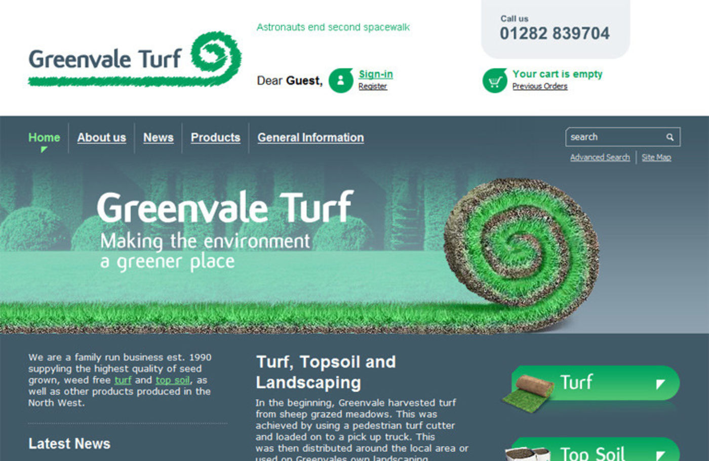 Greenvale Turf Homepage header