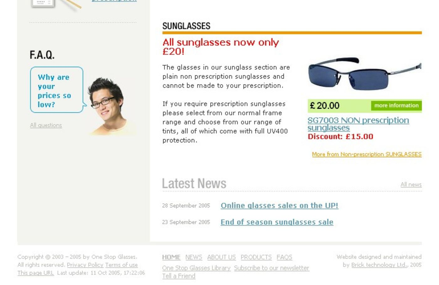 One Stop Glasses Homepage footer