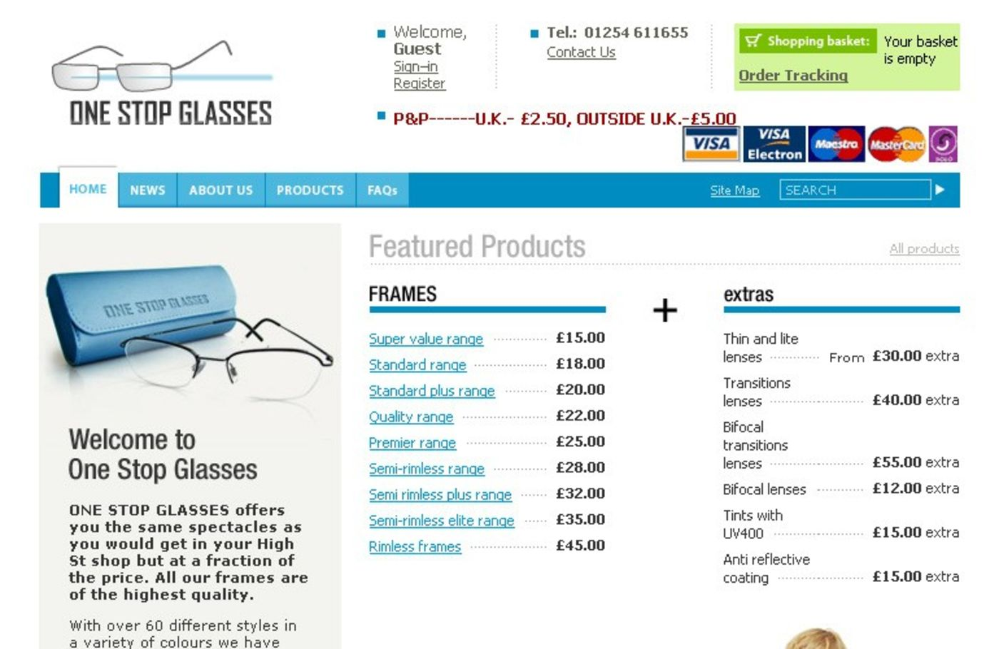 One Stop Glasses Homepage header