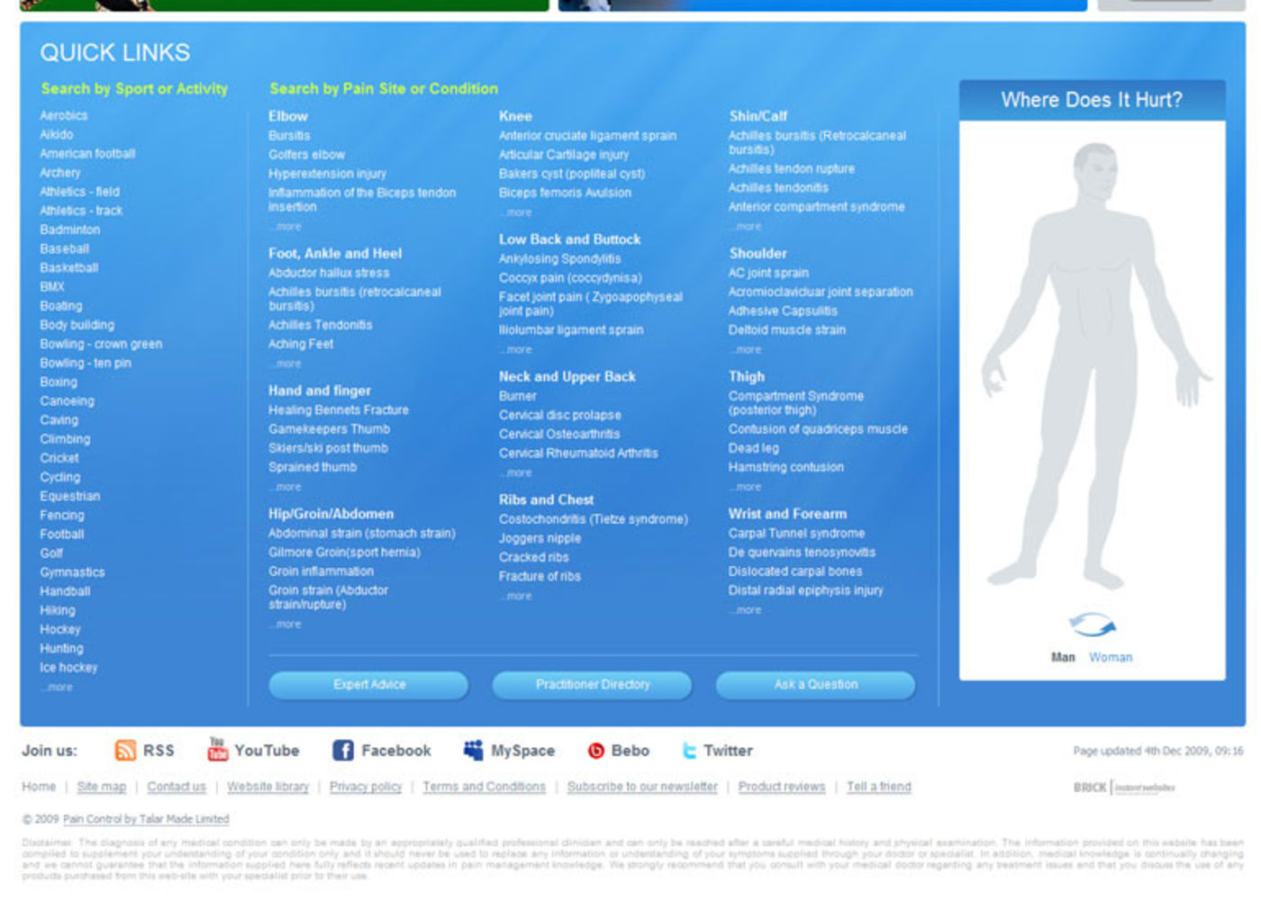 Pain Control Homepage footer