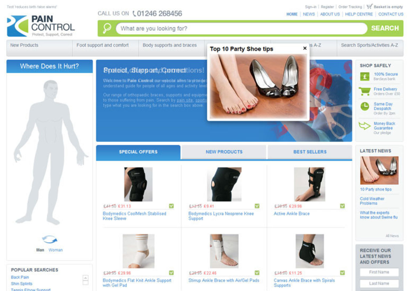 Pain Control Homepag header