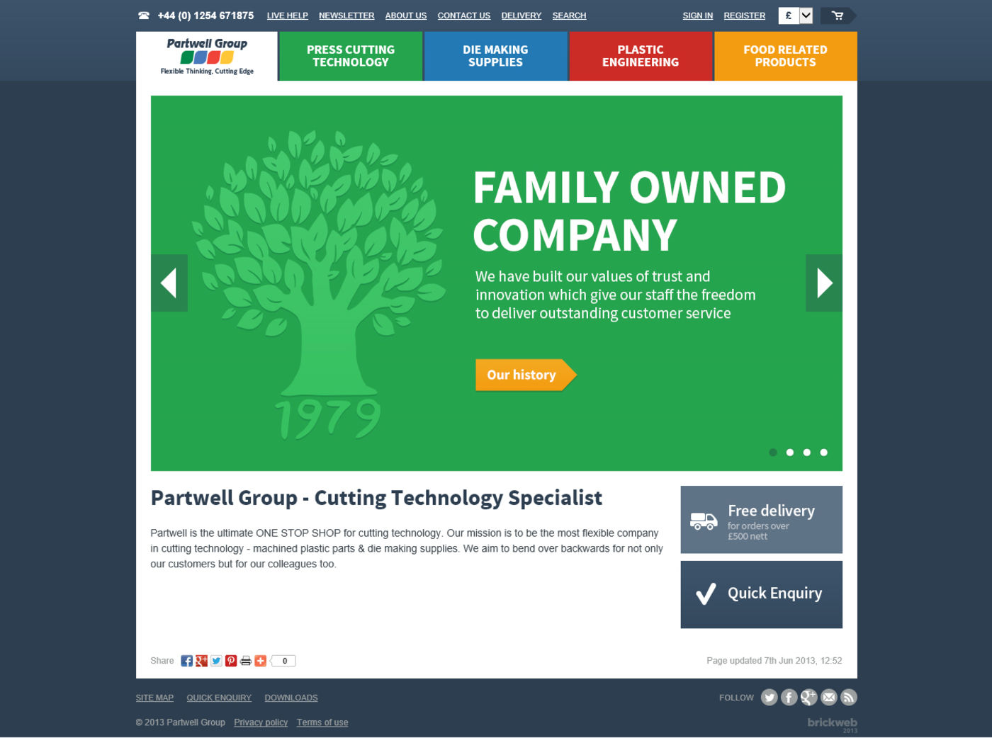 Partwell Group Home page