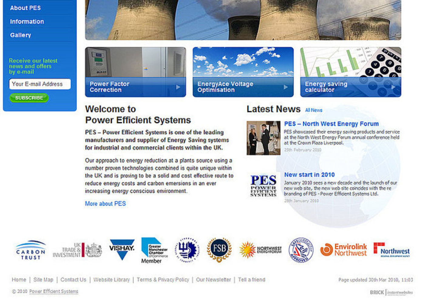 Power Efficient Systems Homepage footer