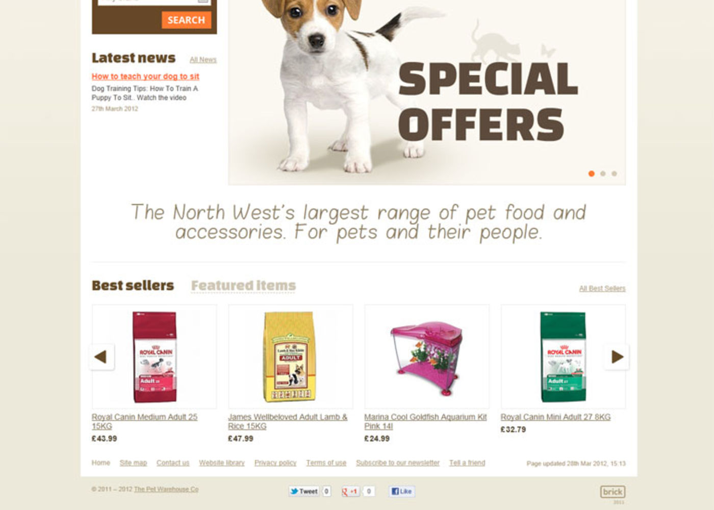 The Pet Warehouse Homepage footer - Pet Warehouse