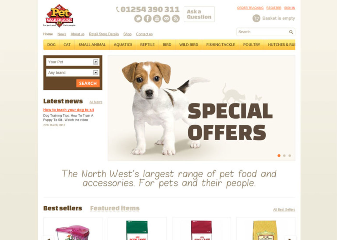 The Pet Warehouse Homepage header - Pet Warehouse
