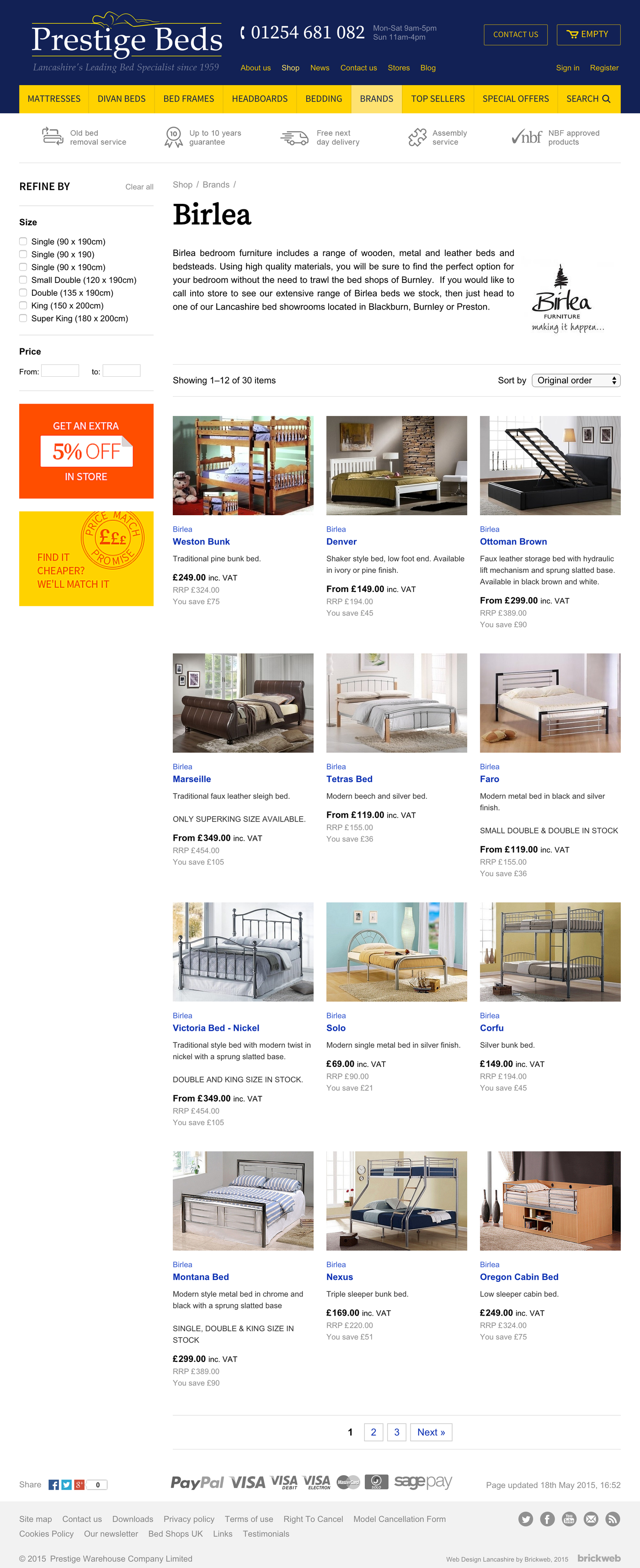 Prestige Beds Products page
