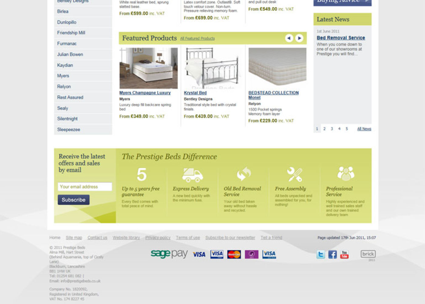 Prestige Beds (2011) Homepage footer