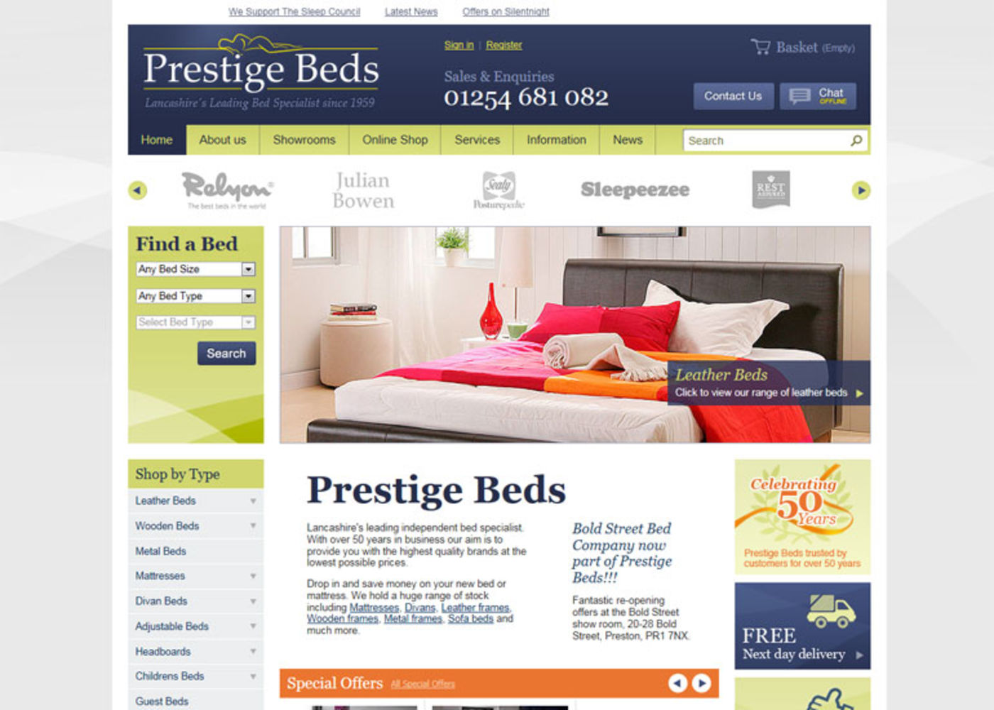 Prestige Beds (2011) Homepage header