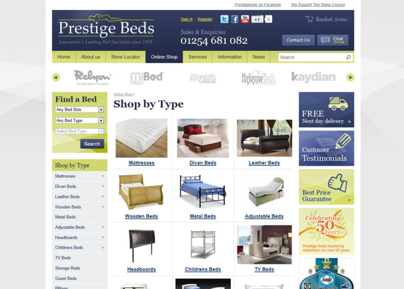 Prestige Beds (2011) Shope by Type