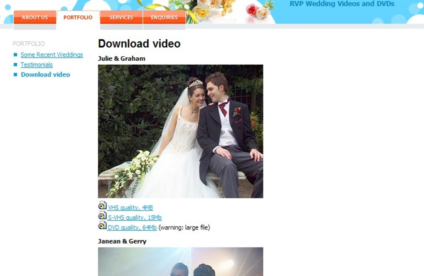 RVP Wedding Videos and DVDs Portfolio page