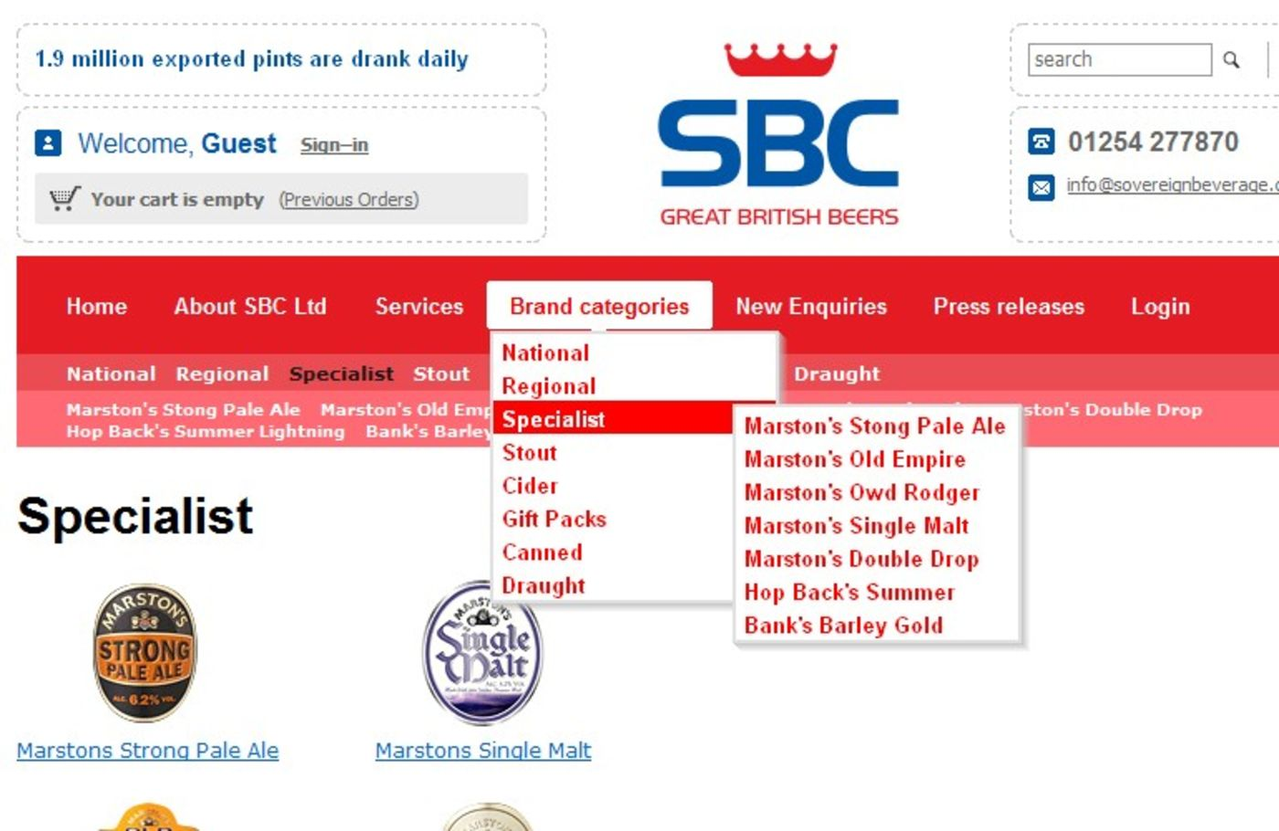 Sovereign Beverage Company Brand categories