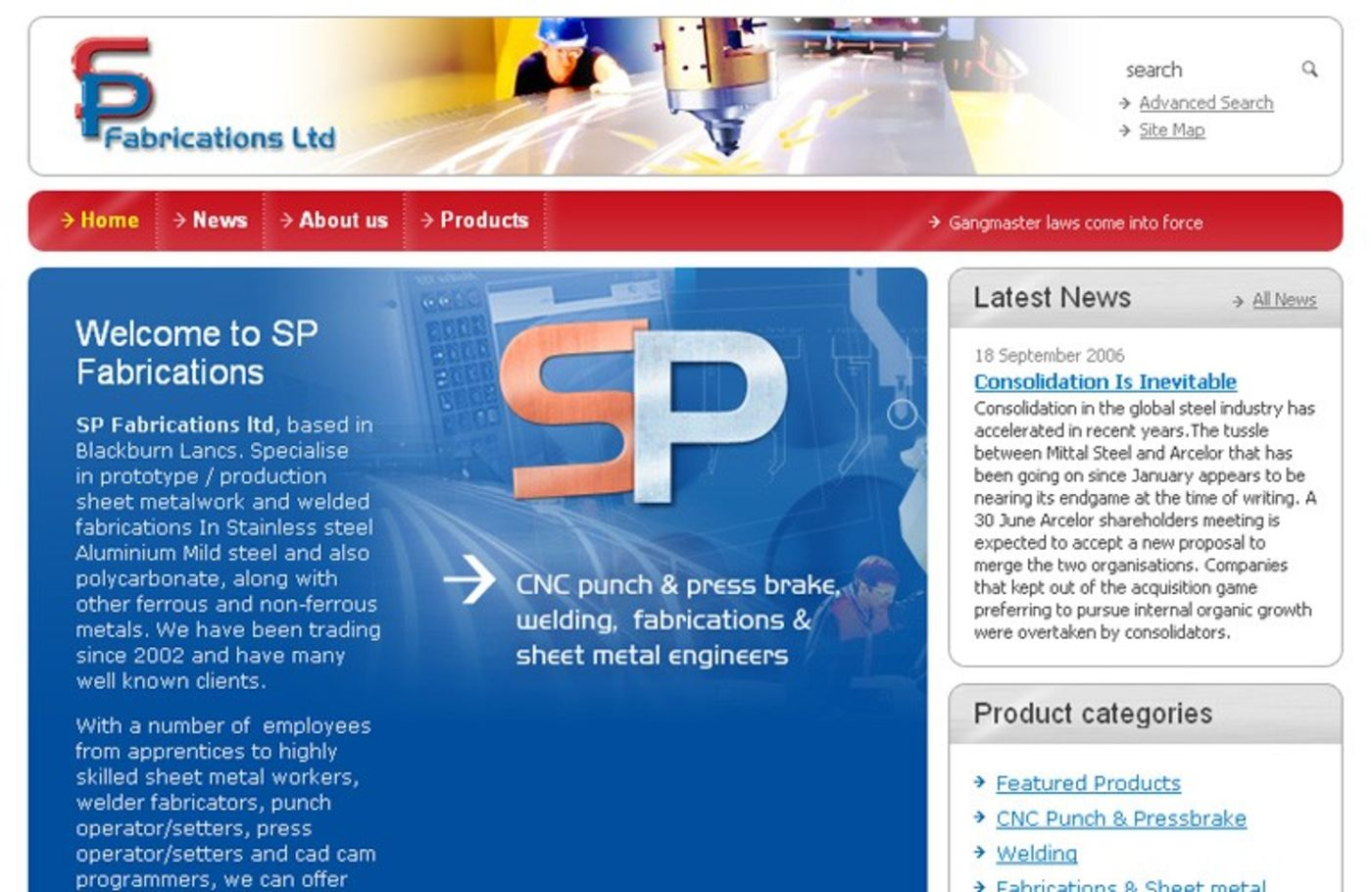 SP Fabrications Homepage header