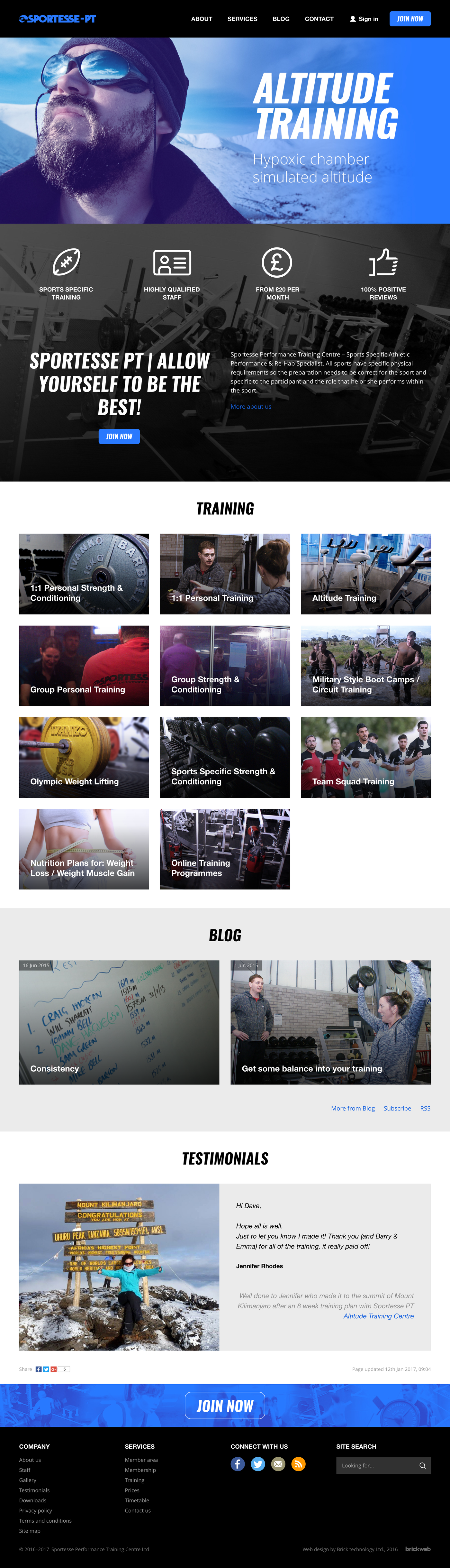 Sportesse Performance Training Center Home page