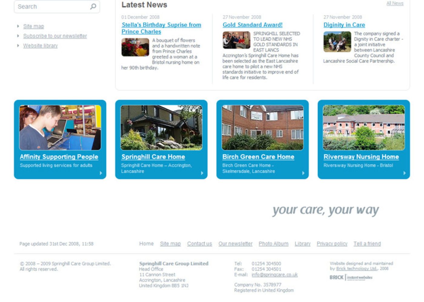 Springhill Care Group Limited Homepage footer