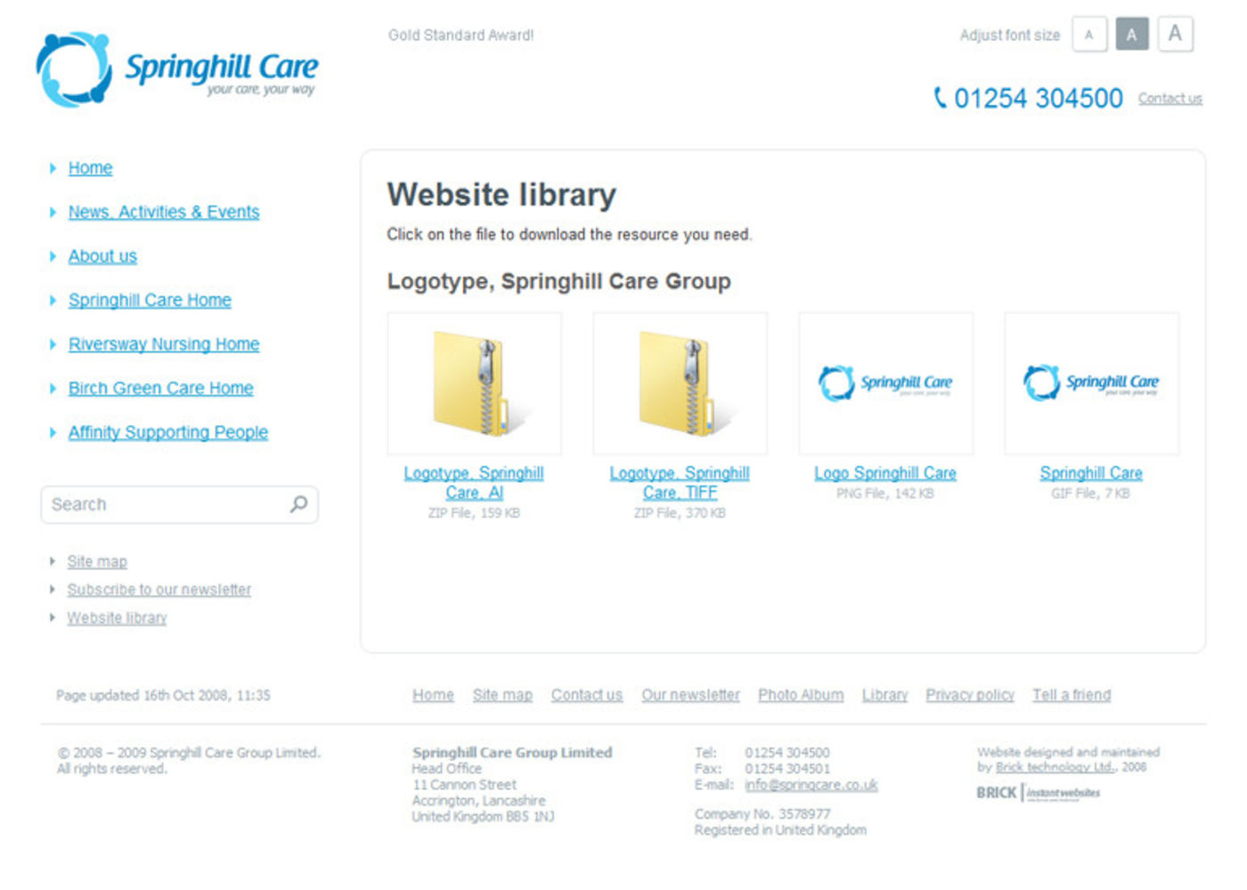 Springhill Care Group Limited Website library