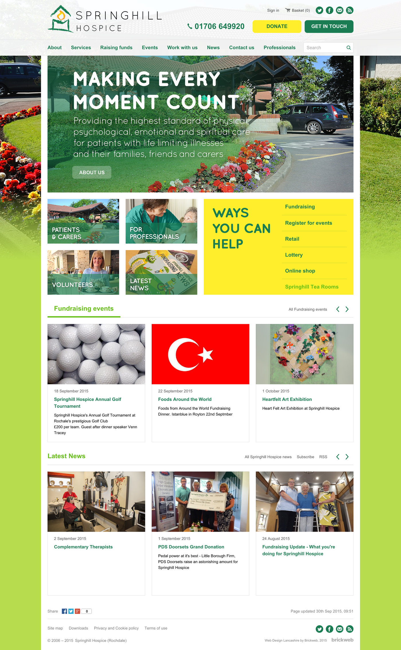 Springhill Hospice Home page