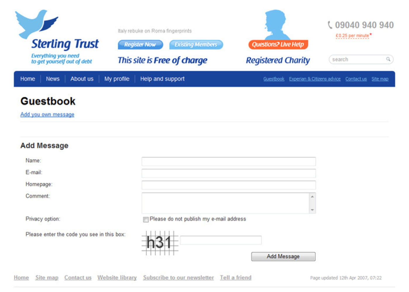 Sterling Trust Guestbook