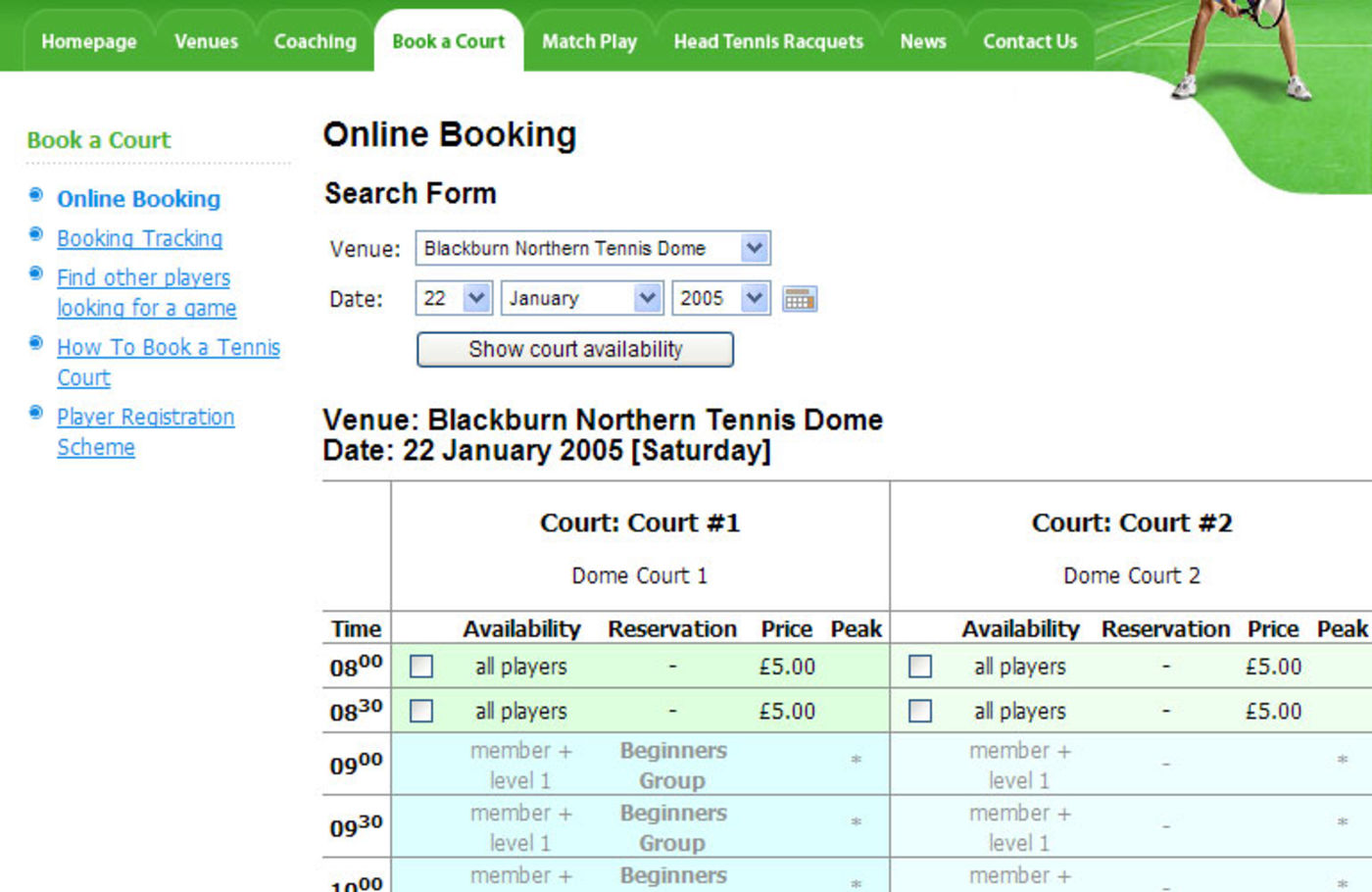 Tennis Centre Booking