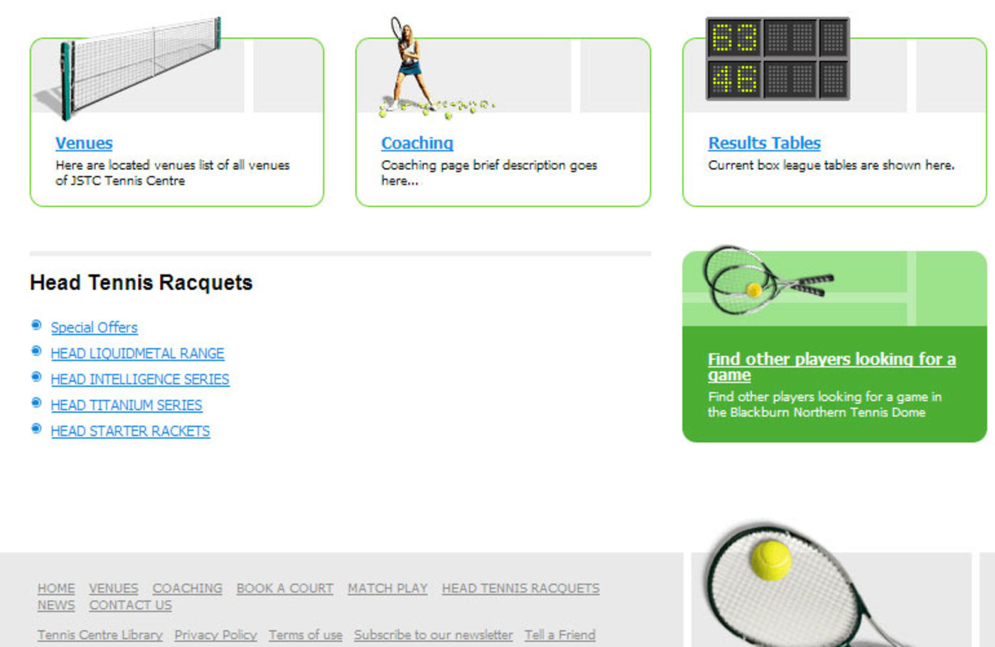 Tennis Centre Homepage footer