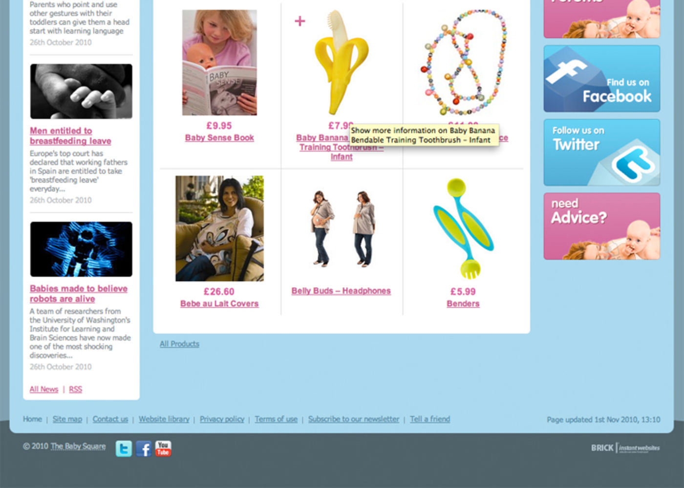 The Baby Square Homepage footer