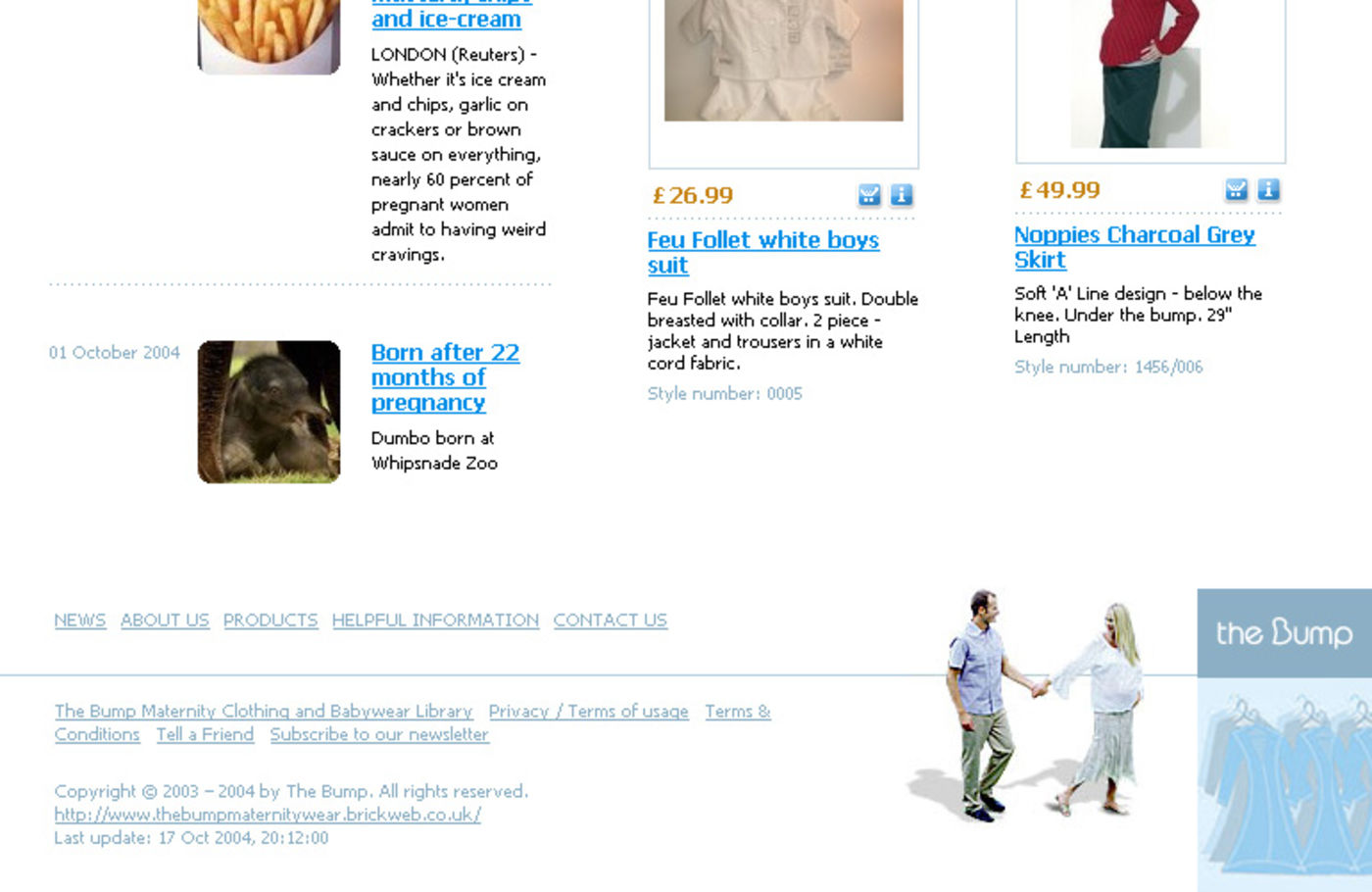 The Bump Maternity Clothing & Babywear Homepage footer