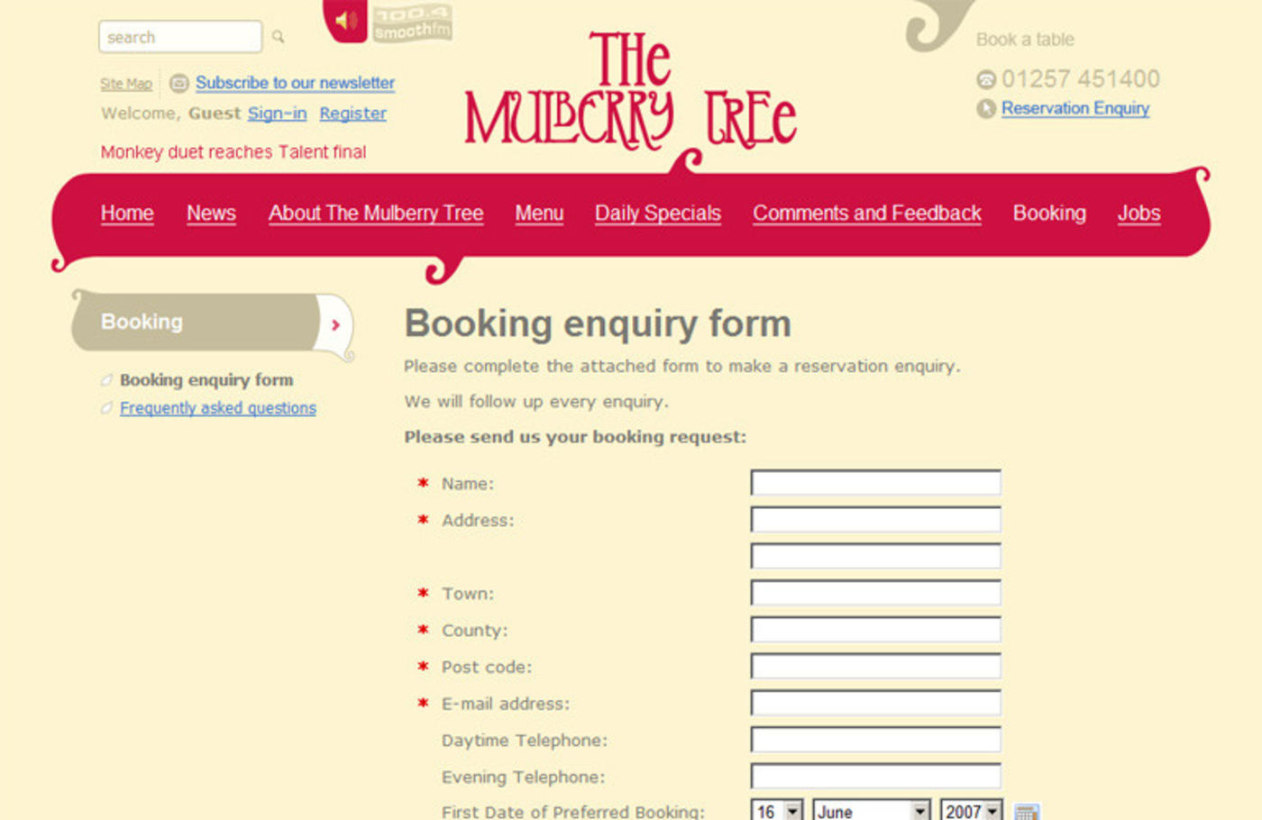 The Mulberry Tree Booking enquiry form