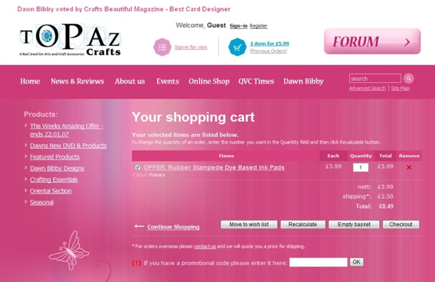 Topaz Crafts Shopping cart