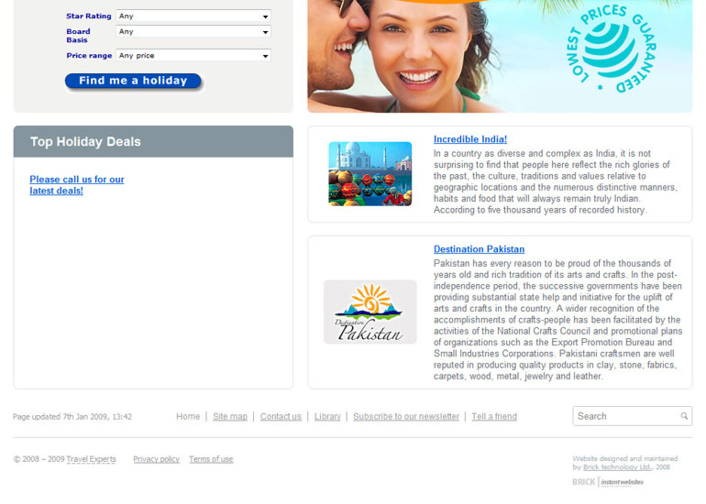 Travel Experts Homepage footer