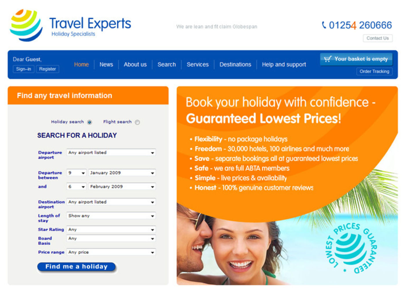 Travel Experts Homepage header