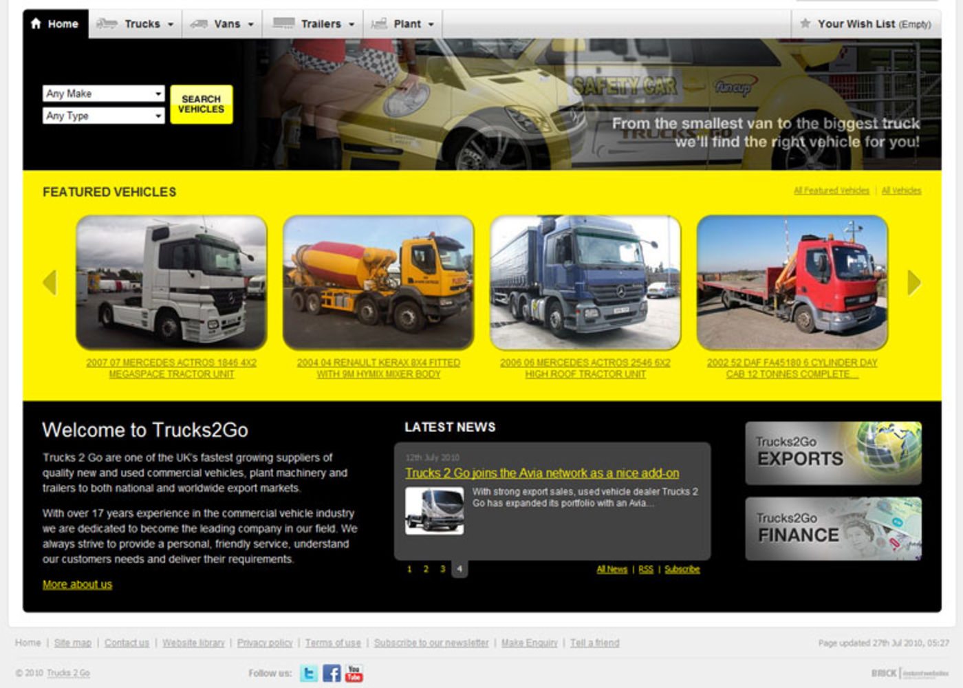 Trucks 2 Go Homepage footer