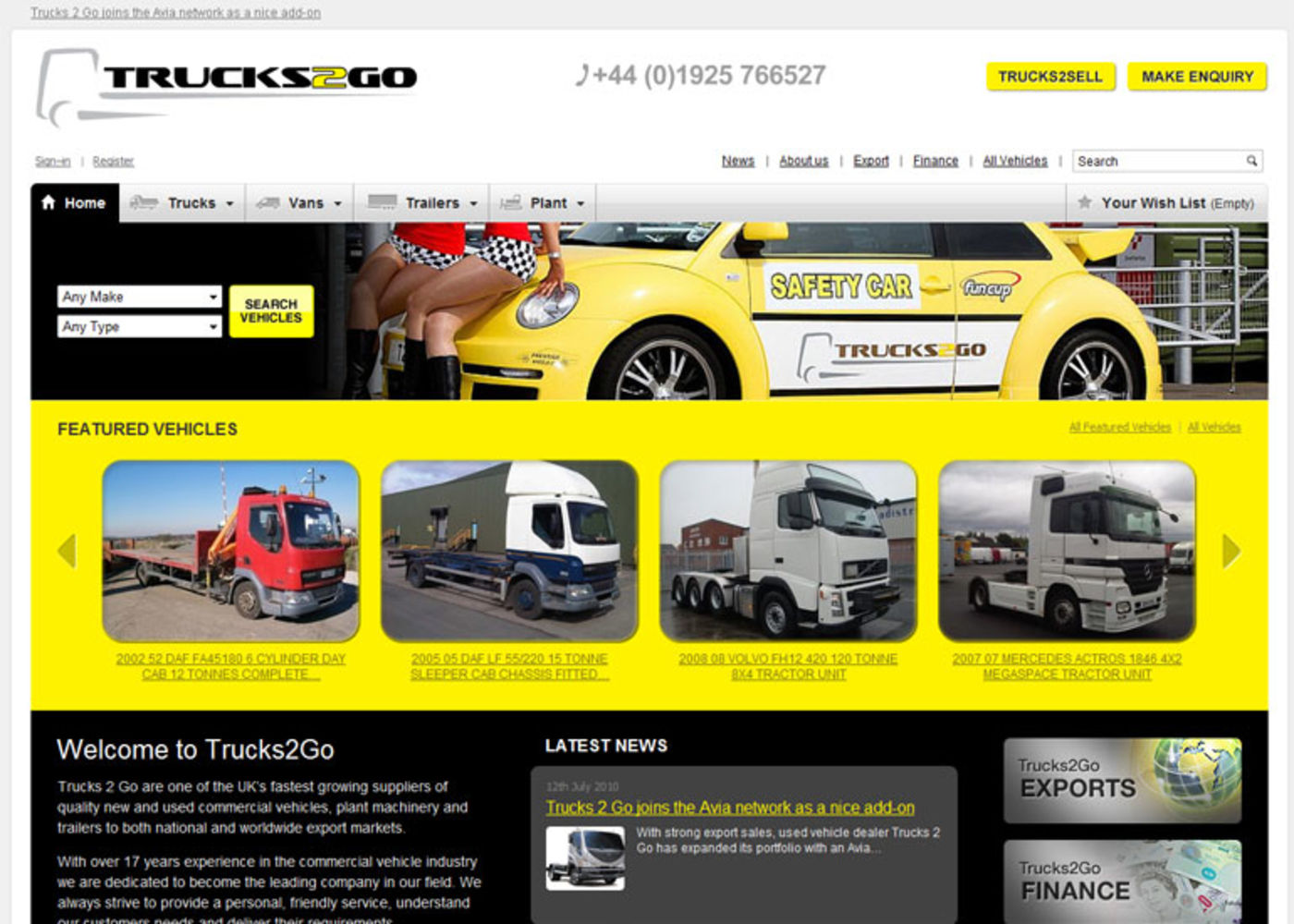 Trucks 2 Go Homepage header
