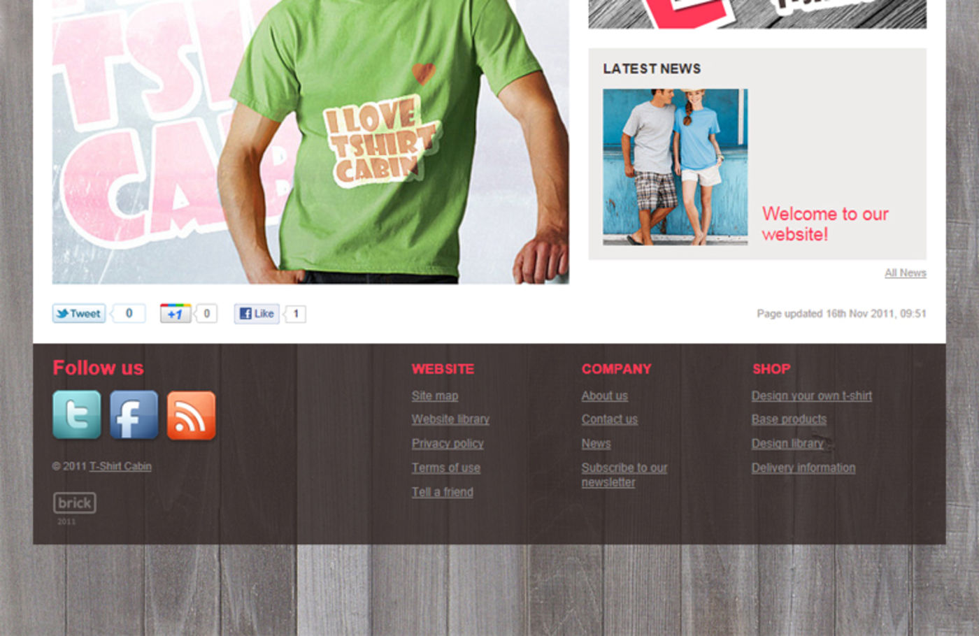 T-Shirt Cabin Homepage footer