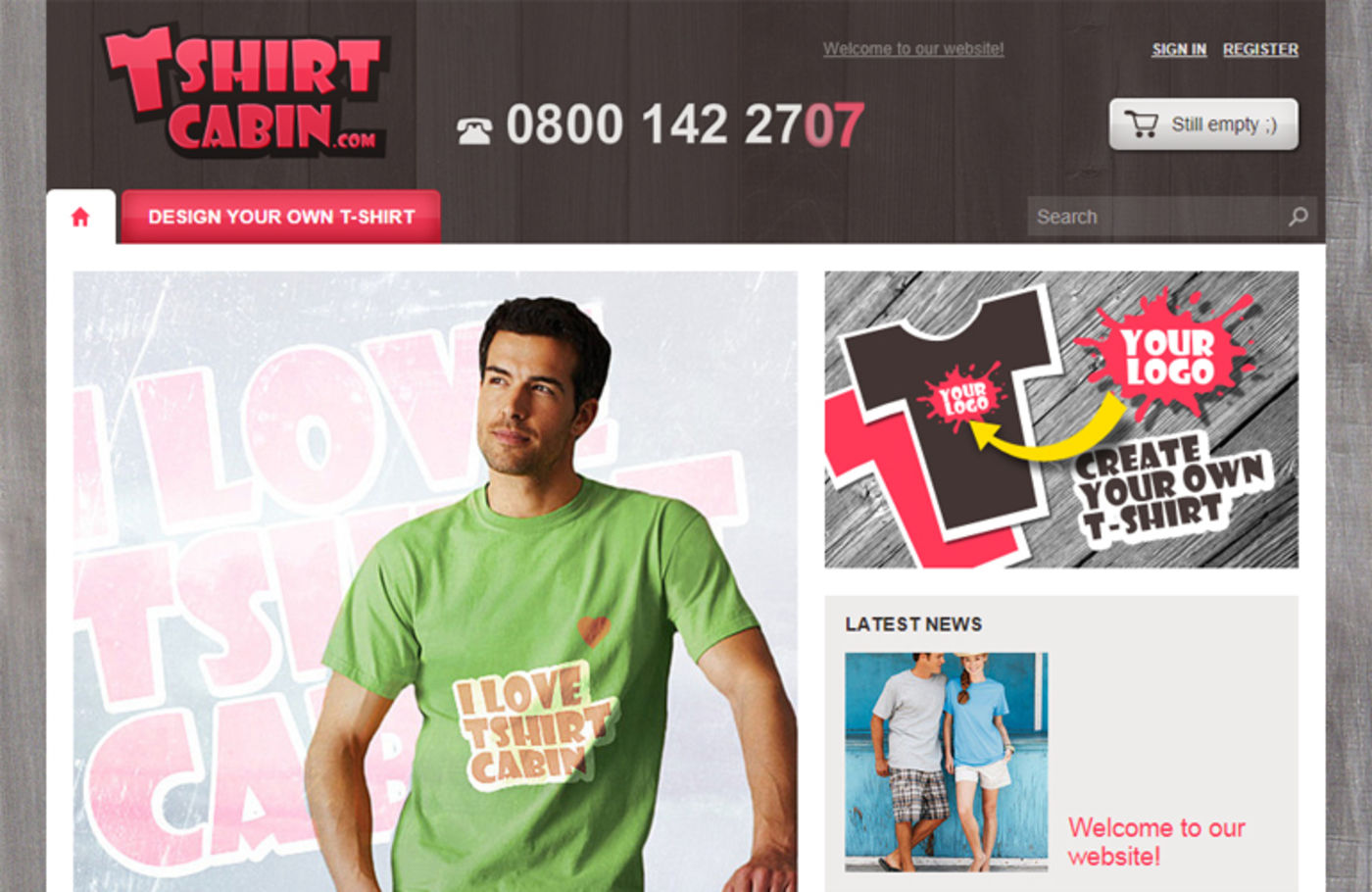 T-Shirt Cabin Homepage header