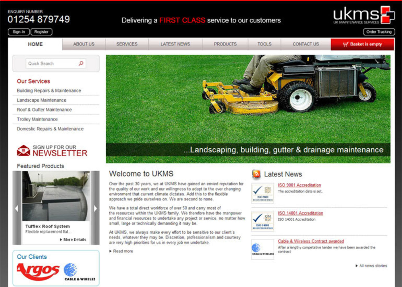 UK Maintenance Services Limited Homepage header