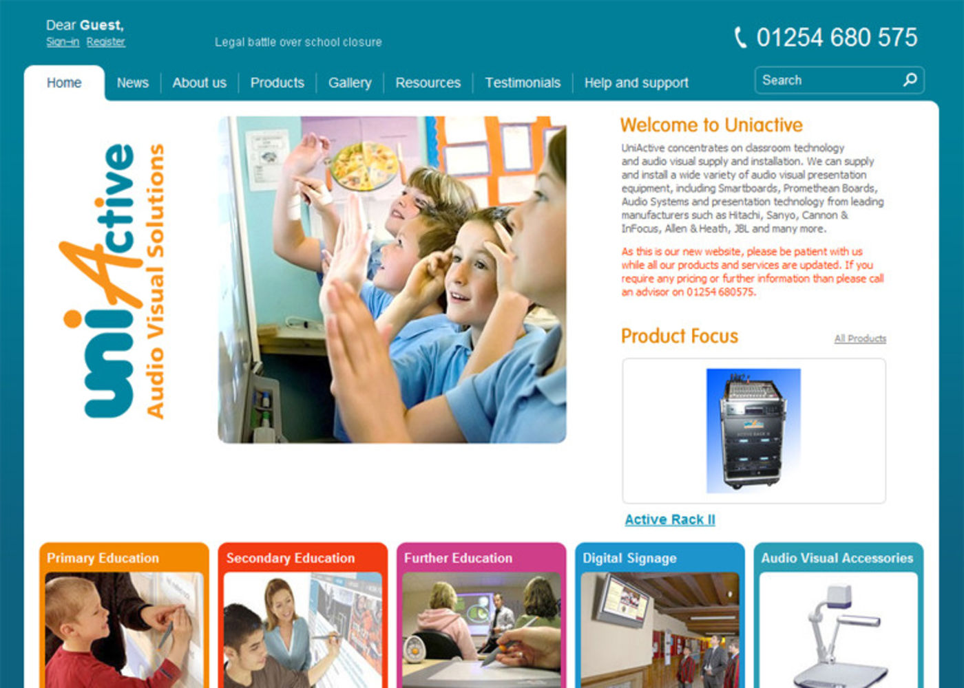 uniActive Homepage header - uniActive