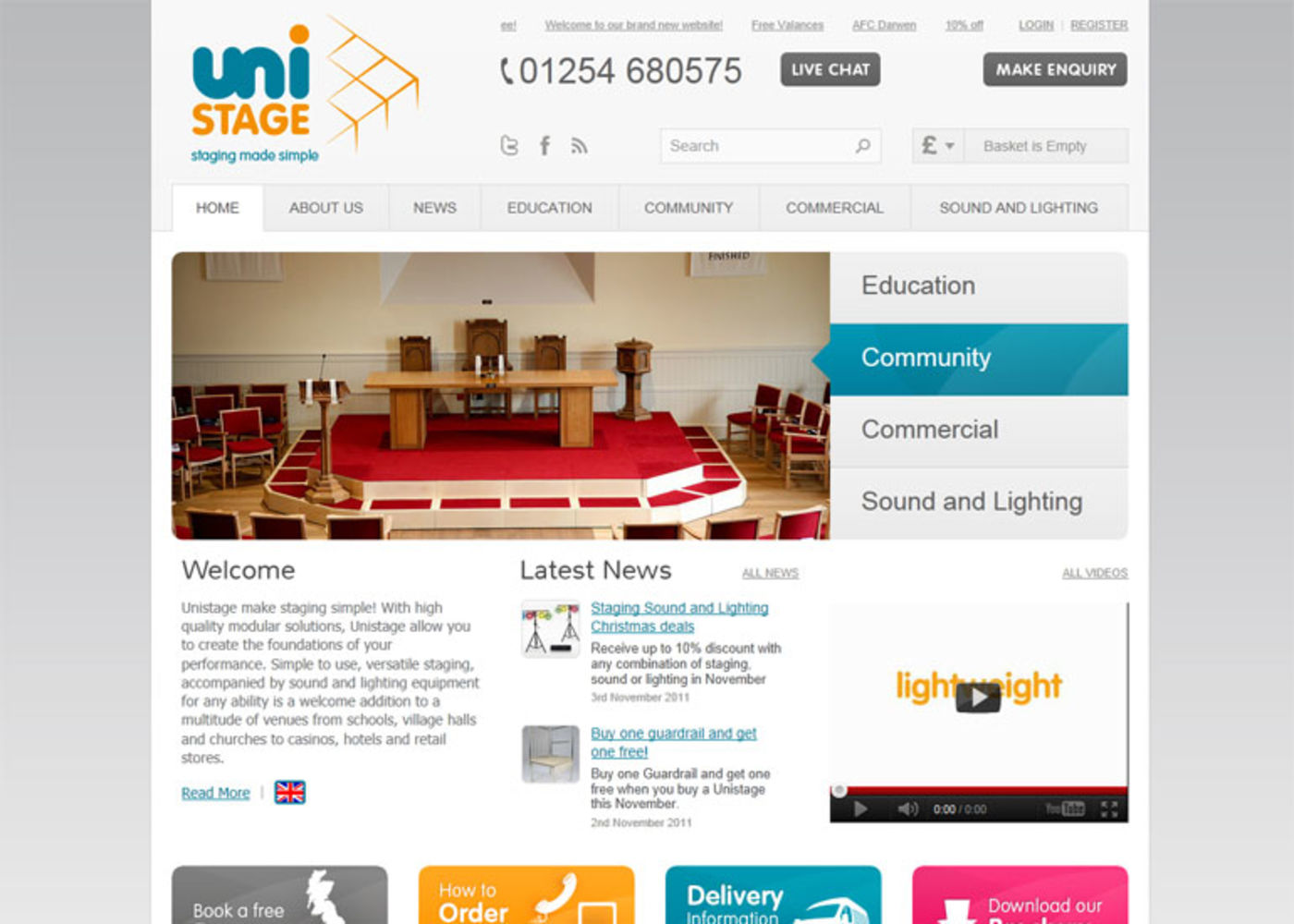 Unistage Homepage header