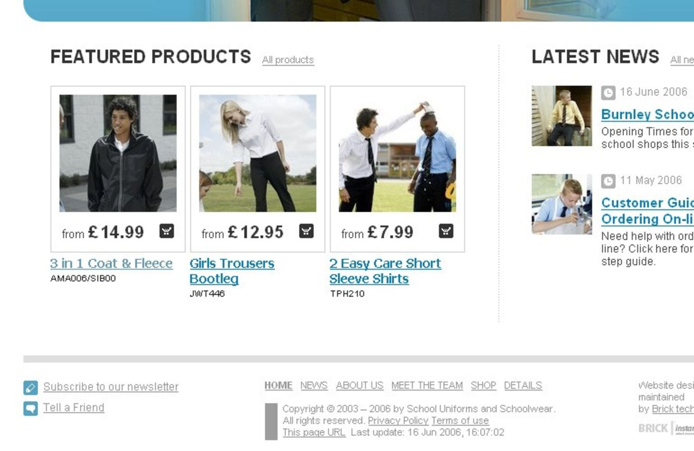 Whittakers Schoolwear Homepage footer
