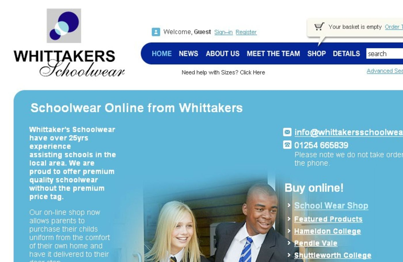Whittakers Schoolwear Homepage header