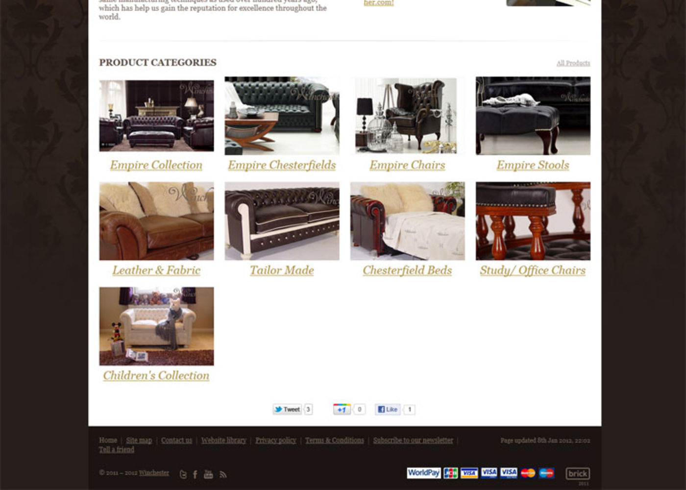 Winchester Leathers Ltd 2012 Homepage footer