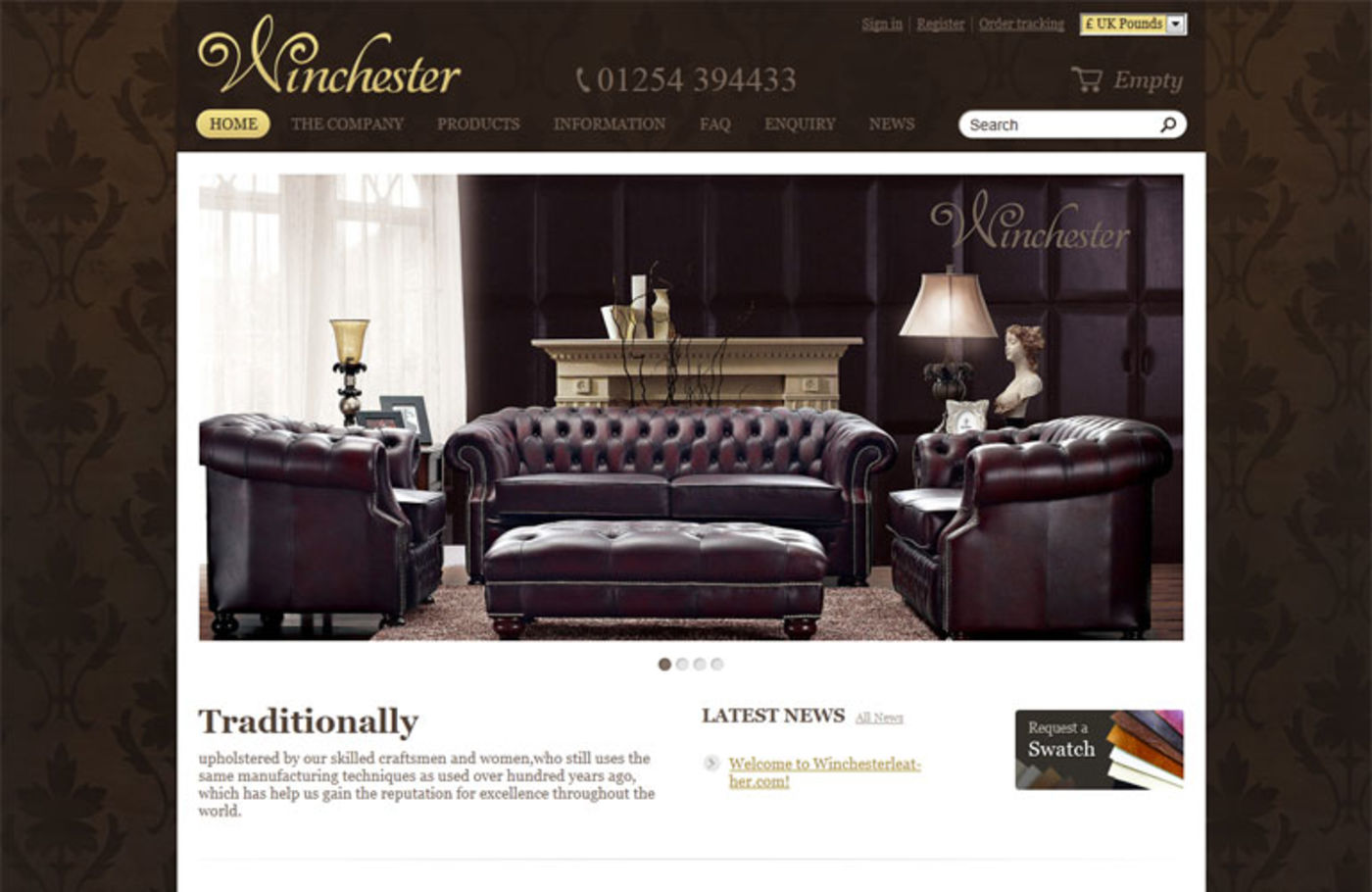 Winchester Leathers Ltd 2012 Homepage header