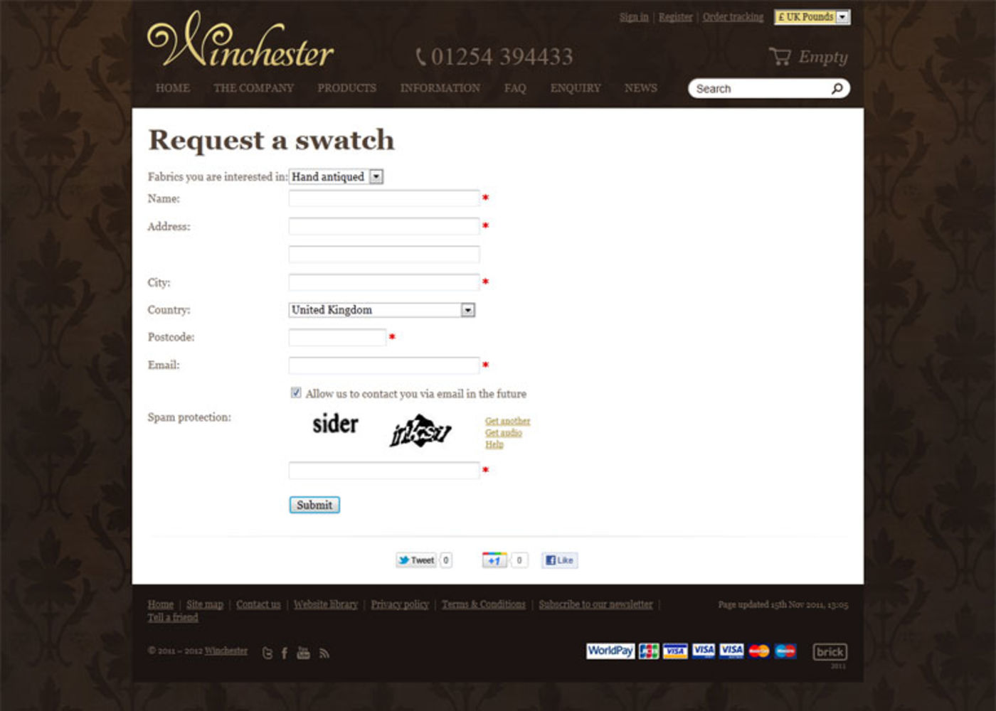 Winchester Leathers Ltd 2012 Requesta a swatch