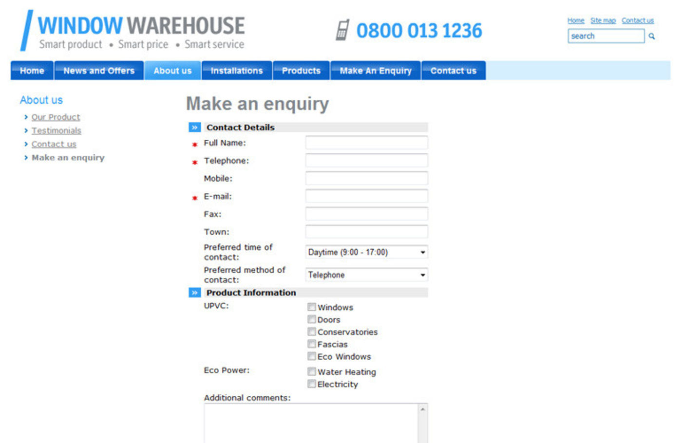 Window Warehouse Make an enquiry