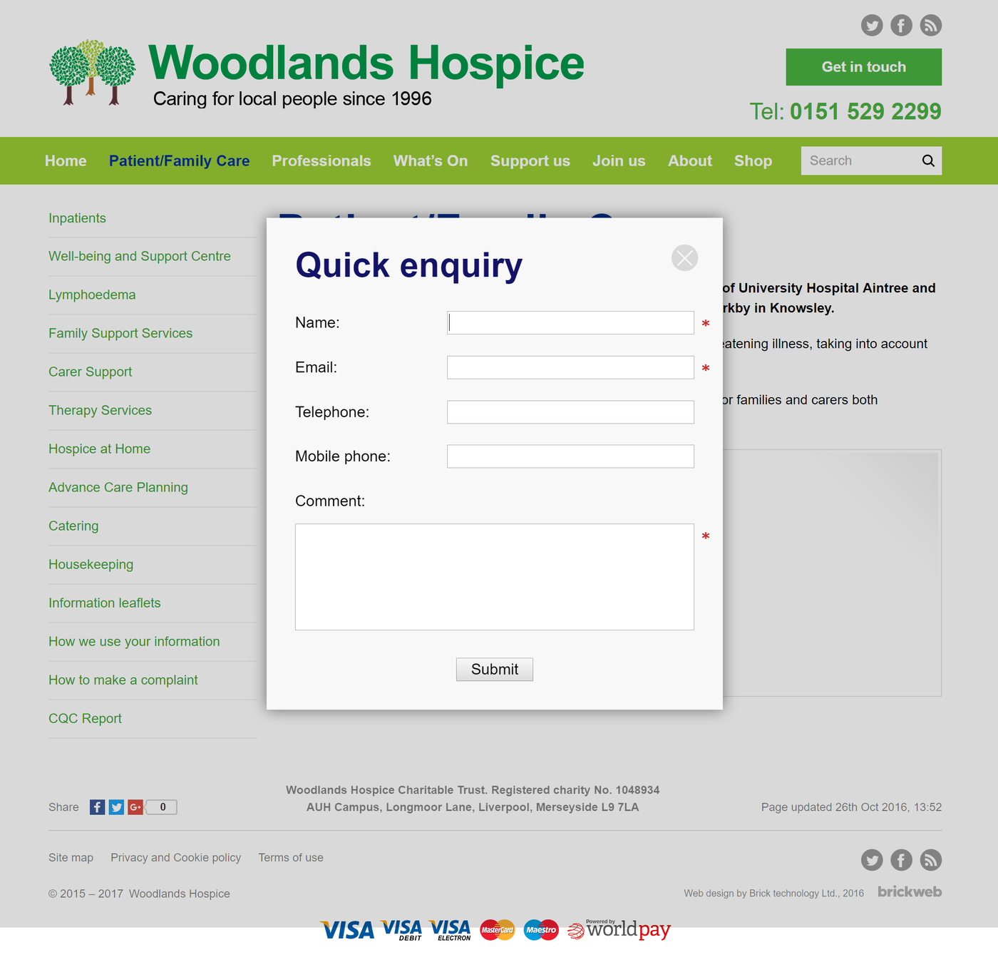 Woodlands Hospice Quick Enquiry